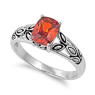 Red Fruit Ring Rhodium Plated Brass Simulated Garnet Cubic Zirconia