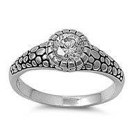 Fashion Blueprint Ring Rhodium Plated Brass Cubic Zirconia