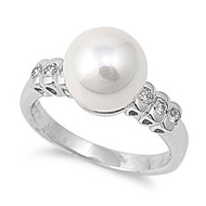 Exquisite Vibe Simulated Pearl Ring Rhodium Plated Brass Cubic Zirconia