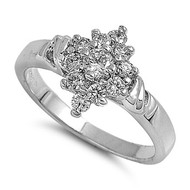 Designer Flower Stones Ring Rhodium Plated Brass Cubic Zirconia