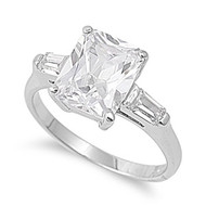 Ice Aura Square Ring Rhodium Plated Brass Cubic Zirconia