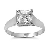 Solitaire Square Inspire Ring Rhodium Plated Brass Cubic Zirconia