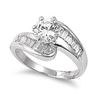 Designer Make Ring Rhodium Plated Brass Cubic Zirconia