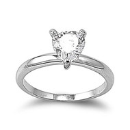 Heart Ring Heart Rhodium Plated Brass Cubic Zirconia