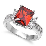 Rectangular Stone Ring Rhodium Plated Brass Simulated Garnet Cubic Zirconia