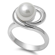Infinity Ring Rhodium Plated Brass Simulated Pearl