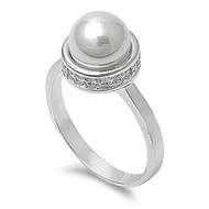 Designer Inspired Ring Rhodium Plated Brass Simulated pearl With Cubic Zirconia