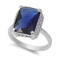Rectangular Stone Ring Rhodium Plated Brass Simulated Sapphire Cubic Zirconia