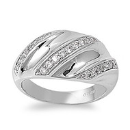 Designer Style Tri Row Ring Rhodium Plated Brass Cubic Zirconia