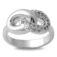 Knot Infinity Ring Rhodium Plated Brass Cubic Zirconia