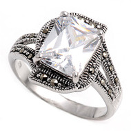 Radiant Cut Center Clear Cubic Zirconia Simulated Marcasite Vintage Style Ring Sterling Silver 925