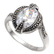 Clear Cubic Zirconia Oval Center Simulated Marcasite Vintage Style Ring Sterling Silver 925