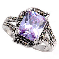 Lavender Cubic Zirconia Rectangular Cut Center Simulated Marcasite Vintage Style Ring Sterling Silver 925