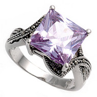 Princess Cut Center Lavender Cubic Zirconia Simulated Marcasite Vintage Style Ring Sterling Silver 925