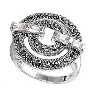 Baguette Clear Cubic Zirconia Simulated Marcasite Round Vintage Style Ring Sterling Silver 925