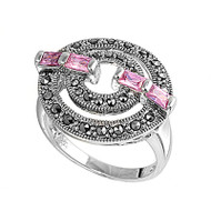 Baguette Pink Cubic Zirconia Simulated Marcasite Round Vintage Style Ring Sterling Silver 925