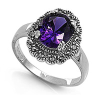Vintage Definition Ring Simulated Amethyst Cubic Zirconia Rhodium Plated Brass Simulated Marcasite