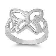 Butterfly Ring Rhodium Plated Brass