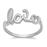Love Ring In Script Rhodium Plated Brass