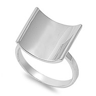 Concave Squre Ring Rhodium Plated Brass