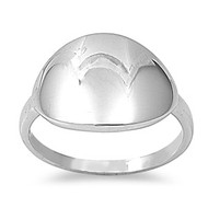 Concave Round Ring Rhodium Plated Brass