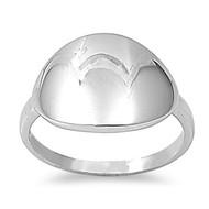 Concave Round Ring Rhodium Plated Brass