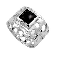Designer Filigree Square Simulated Onyx Stone Ring Sterling Silver 925
