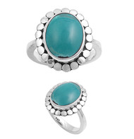 Oval Simulated Turquoise Stone Filigree Ring Sterling Silver