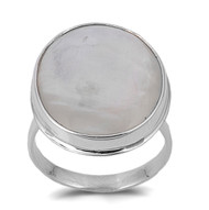 Bezel Round Simulated Mother Of Pearl Stone Ring Sterling Silver 925