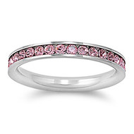 Eternity Pink Cubic Zirconia Ring Stainless Steel