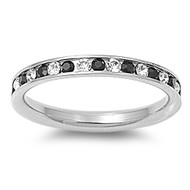 Classic Eternity Black & White Cubic Zirconia Ring Stainless Steel