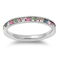 Classic Eternity Rainbow Cubic Zirconia Ring Stainless Steel
