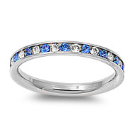 Classic Eternity Simulated Sapphire & Clear Cubic Zirconia Ring Stainless Steel