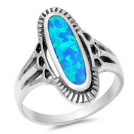 Long Oval Shape Blue Simulated Opal Fashion Ring Sterling Silver