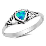 Swirl Heart Blue Simulated Opal Bezel Rope Ring Sterling Silver