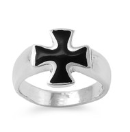 Black Iron Cross Simulated Onyx Stone Ring Sterling Silver 925