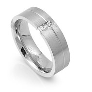 Tension Set Cubic Zirconia Ring Stainless Steel