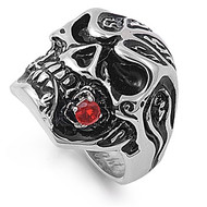 Skull Biker Cubic Zirconia Ring Stainless Steel