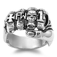 Iron Cross Skull Fist Biker Ring Stainless Steel
