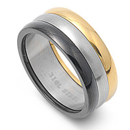 Black Yellow Silver Tri Tone Ring Stainless Steel