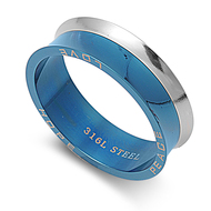 Blue Blazer Ring Stainless Steel
