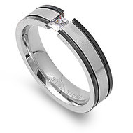 Black Pin Striped Tension Princess Cut Cubic Zirconia Ring Stainless Steel