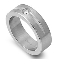 Solitaire Cubic Zirconia Ring Stainless Steel
