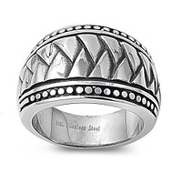 Tribal Weave Biker Ring Stainless Steel