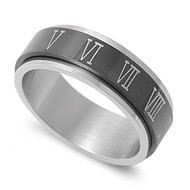 Roman Numeral Black Spinner Ring Stainless Steel