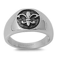 Fleur De Lis Stamp Biker Ring Stainless Steel