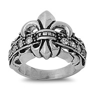 Fleur De Lis Strap Biker Ring Stainless Steel