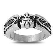 Fleur De Lis Biker Skull Ring Stainless Steel