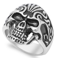 Swirl Design Skull Ring Stainless Steel