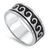 Maori Wave Pattern Band Ring Stainless Steel